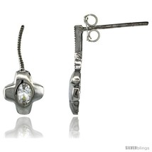 Sterling Silver CZ Cross Post Earrings 11/16 in. (18 mm)  - $29.94