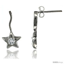 Sterling Silver CZ Star Post Earrings 3/4 in. (19 mm)  - $29.94