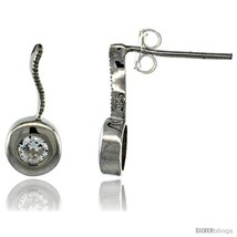 Sterling Silver Round CZ Post Earrings 5/8 in. (16 mm)  - $29.94