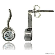 Sterling Silver Round CZ Post Earrings 9/16 in. (15 mm)  - $29.94