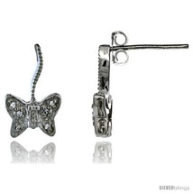 Sterling Silver CZ Butterfly Post Earrings 9/16 in. (15 mm)  - $29.94
