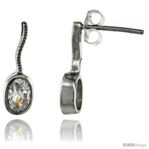 Sterling Silver Oval CZ Post Earrings 5/8 in. (16 mm)  - $29.94