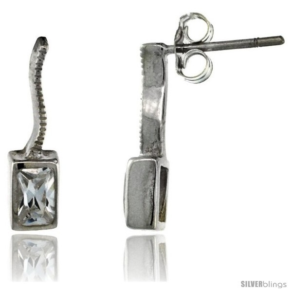 Sterling Silver Rectangular CZ Post Earrings 5/8 in. (16 mm)  - $29.94