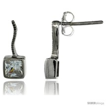 Sterling Silver Square CZ Post Earrings 9/16 in. (14 mm)  - $29.94