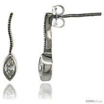 Sterling Silver Marquise CZ Post Earrings 5/8 in. (16 mm)  - $29.94
