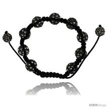 Black Crystal Disco Ball Adjustable Unisex Macrame Bead Bracelet 1/2 in. (12.5  - $28.42
