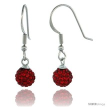 Sterling Silver 6mm Round Red Disco Crystal Ball Fish Hook Earrings, 1 1/16 in.  - $25.64
