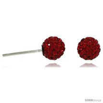 Sterling Silver 6mm Round Red Disco Crystal Ball Stud  - $14.57