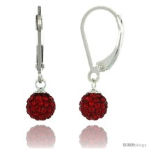 Sterling Silver 6mm Round Red Disco Crystal Ball Lever Back Earrings, 1 in. (25  - $28.29