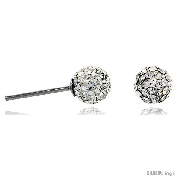 Sterling Silver 6mm Round White Disco Crystal Ball Stud  - $14.57