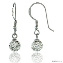 Sterling Silver 6mm Round White Disco Crystal Ball Fish Hook Earrings, 1 1/16  - $31.84