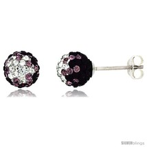 Sterling Silver Crystal Disco Ball Stud Earrings (8mm Round), Clear & Purple  - $17.65
