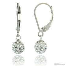 Sterling Silver 6mm Round White Disco Crystal Ball Lever Back Earrings, 1 in.  - $33.15