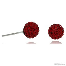 Sterling Silver 8mm Round Red Disco Crystal Ball Stud  - $18.21