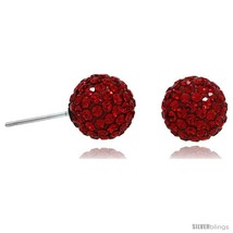 Sterling Silver 10mm Round Red Disco Crystal Ball Stud  - $23.81