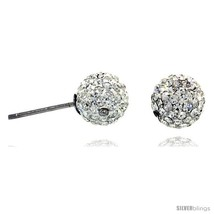 Sterling Silver 8mm Round White Disco Crystal Ball Stud  - $18.21