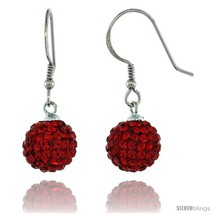 Sterling Silver 10mm Round Red Disco Crystal Ball Fish Hook Earrings, 1 1/4 in.  - $32.19
