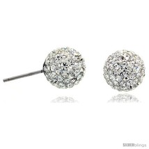 Sterling Silver 10mm Round White Disco Crystal Ball Stud  - $23.81