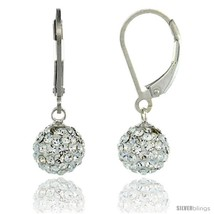 Sterling Silver 8mm Round White Disco Crystal Ball Lever Back Earrings, 1 in.  - $36.97