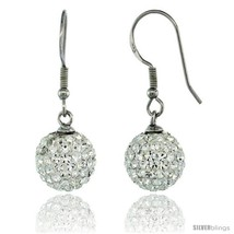 Sterling Silver 10mm Round White Disco Crystal Ball Fish Hook Earrings, 1 1/4  - $36.97