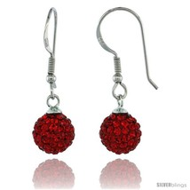 Sterling Silver 8mm Round Red Disco Crystal Ball Fish Hook Earrings, 1 1/4 in.  - $29.70