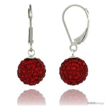 Sterling Silver 10mm Round Red Disco Crystal Ball Lever Back Earrings, 1 1/8  - $39.08