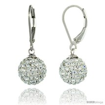 Sterling Silver 10mm Round White Disco Crystal Ball Lever Back Earrings, 1 1/8  - $39.08