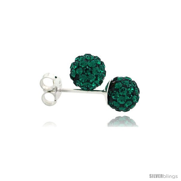 Sterling Silver Emerald Crystal Ball Stud Earrings  - $14.55