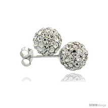 Sterling Silver White Crystal Ball Stud Earrings  - $18.25