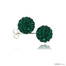 Sterling Silver Emerald Crystal Ball Stud Earrings  - $18.25