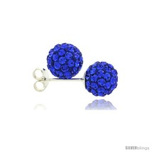 Sterling Silver Sapphire Crystal Ball Stud Earrings  - $18.25