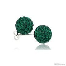 Sterling Silver Emerald Crystal Ball Stud Earrings  - $23.83