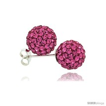 Sterling Silver Pink Tourmaline Crystal Ball Stud Earrings  - $23.83