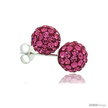 Sterling Silver Pink Tourmaline Crystal Ball Stud Earrings  - $18.25