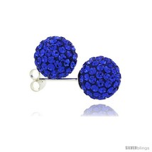 Sterling Silver Sapphire Crystal Ball Stud Earrings  - $23.83
