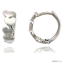 Sterling Silver Huggie Hoop Earrings w/ Teeny Heart Links, 1/2 in. (12  - $27.98