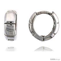 Sterling Silver Fancy Huggie Hoop Earrings, 7/16in  (11  - $27.98