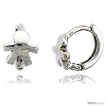 Sterling Silver Human-shaped Huggie Hoop Earrings, 3/8in  (10  - $27.98