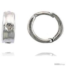 Sterling Silver Huggie Hoop Earrings w/ Teeny Heart, 3/8in  (9  - $27.98