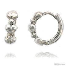 Sterling Silver Huggie Hoop Earrings w/ Teeny Heart Links, 1/2in  (13  - $27.98