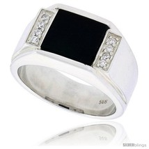 Size 12 - Sterling Silver Gents' Square Black Onyx Ring, w/ Grooved Edge... - $113.69