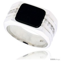 Size 12 - Sterling Silver Gents' Rectangular Black Onyx Ring, w/ 2 Light  - $131.75