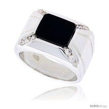 Size 9 - Sterling Silver Gents' Rectangular Black Onyx Ring, w/ 2 Light Grooves  - $136.89