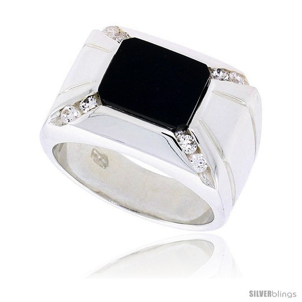 Primary image for Size 13 - Sterling Silver Gents' Rectangular Black Onyx Ring, w/ 2 Light