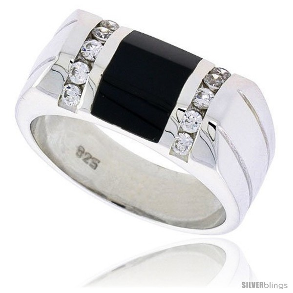 S beveled rectangular black onyx ring w 2 light grooves at each side 10 cz stones 3 8 10 mm wide