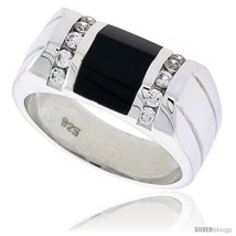 Size 11 - Sterling Silver Gents' Beveled-Rectangular Black Onyx Ring, w/ 2  - $131.85