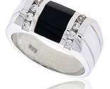 Angular black onyx ring w 2 light grooves at each side 10 cz stones 3 8 10 mm wide thumb155 crop