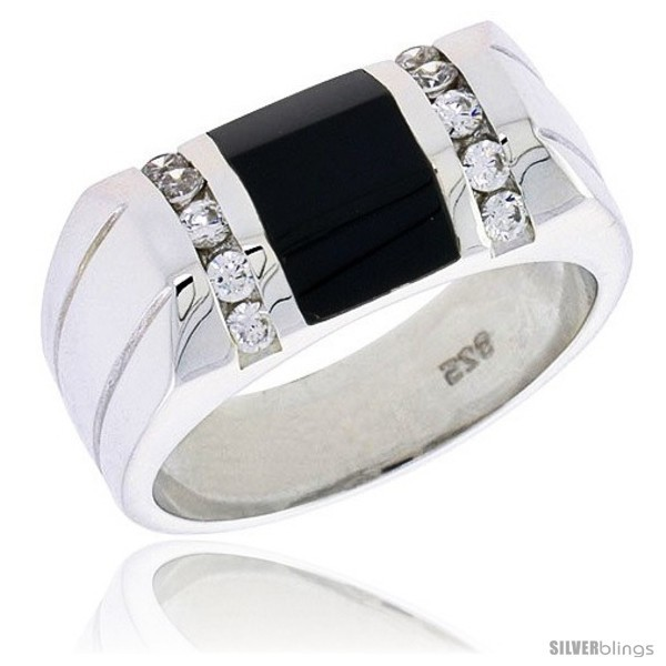 Size 9 - Sterling Silver Gents' Beveled-Rectangular Black Onyx Ring, w/ 2 Light