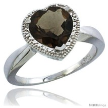 An item in the Jewelry & Watches category: Size 9 - 10K White Gold Natural Smoky Topaz Ring Heart-shape 8x8 Stone Diamond