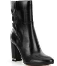 New Michael Michael Kors Dolores Ruched Women Leather Bootie Black Varie... - $197.99